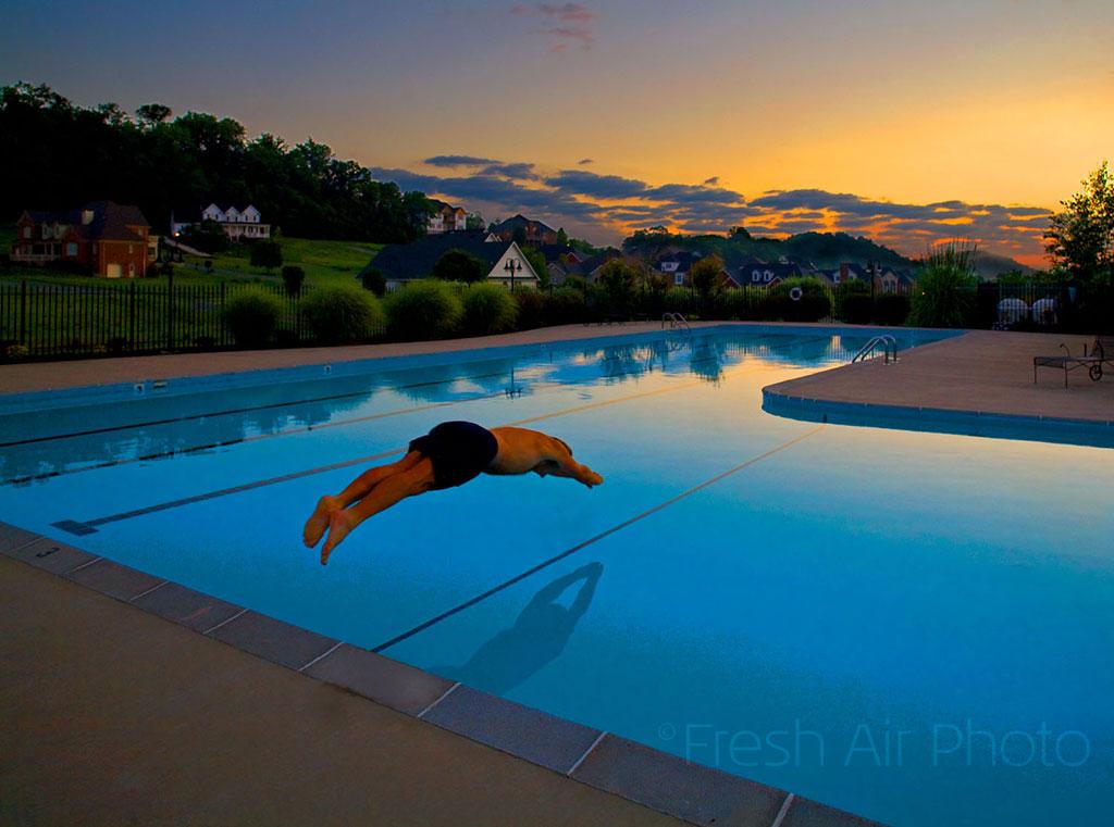 diving pool - dusk